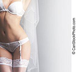 novia, gris, joven, lenceria, plano de fondo, erótico,...