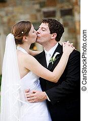 novia, novio, -, besar, boda
