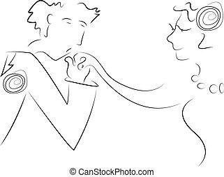 novia, novio, caricatura