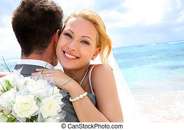 novia, novio, ella, se abrazar