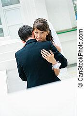 novia, novio, pareja., se abrazar, boda