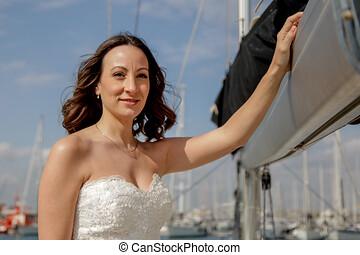 novia, posturas, velero