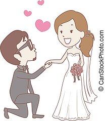 novia, propuesta, novio, arrodillar, boda