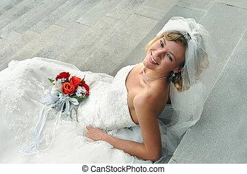 novia, radiante, rubio