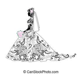 novia, silueta