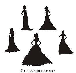 novia, siluetas, conjunto