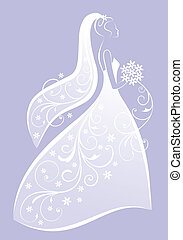 novia, vector, vestido, boda