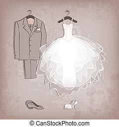 novia, vestido, y, groom's, traje, en, grungy, plano de...
