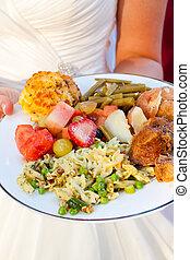 novia, y, boda, alimento
