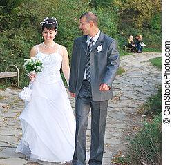novia y novio, ambulante
