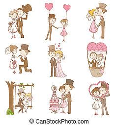 novia y novio, -, boda, garabato, conjunto, -, diseñe elementos, para, álbum de recortes, invitación, en, vector