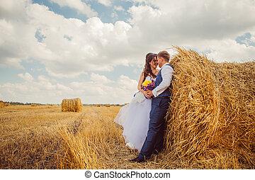 novia y novio, con, velo, cerca, heno