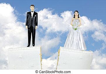 novia y novio, divorcio, pastel