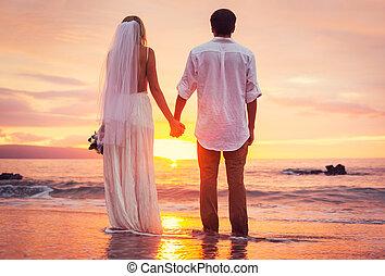 novia y novio, el gozar, asombroso, ocaso, en, un, hermoso, playa tropical, romántico, matrimonio