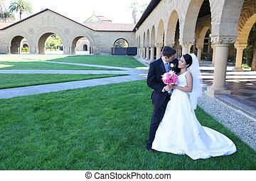 novia y novio, en, boda