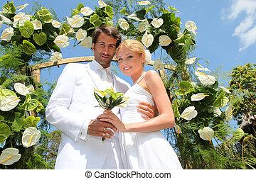 novia y novio, en, su, día boda