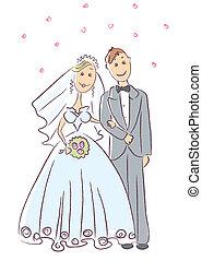 novia y novio, .vector, ceremonia boda
