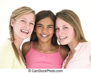 novias, tres, juntos, sonriente