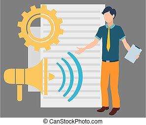 Novice Assistant with Document Megaphone Wheel - Megaphone ...