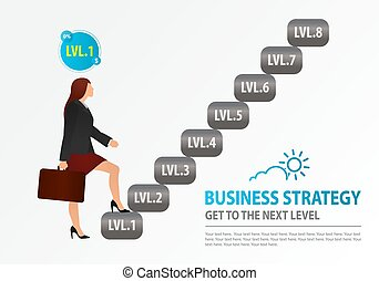 Novice business woman starts to climb the stairs. Concept of Business Strategy, Wealth-Building Business, Growth, balance, success, training, logo, business opportunities.