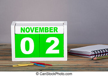 noviembre, 2., primer plano, de madera, calendario