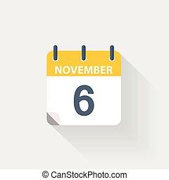 noviembre, 6, calendario, icono