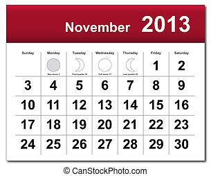 noviembre, calendario, 2013