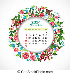 noviembre, calendario, 2014