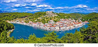 Novigrad Dalmatinski bay panoramic view