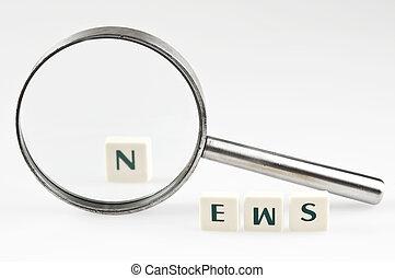 novinka, vzkaz, a, magnifying glass