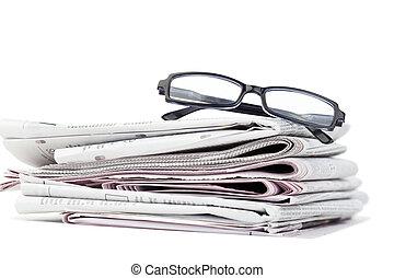 noviny, čerň, brýle