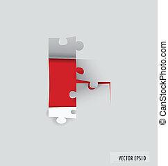 noviny, řezat, illustration., vektor, puzzle.