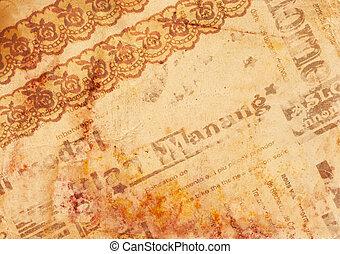noviny, dávný, grafické pozadí, -, vinobraní