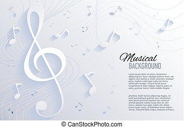 noviny, grafické pozadí, s, hudba, věnovat pozornost.
