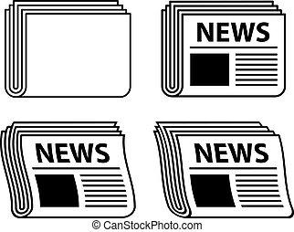 noviny, symbol, zvlněný, čerň, vektor