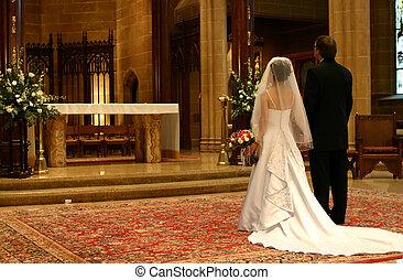 novio, (closeup), novia, altar