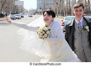 novio, coche, calle, para, novia