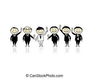 novio, con, amigos, partido machos, para, su, diseño