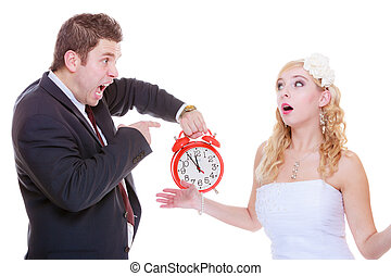 novio, tenencia, grande, rojo, reloj, gritar, y, novia
