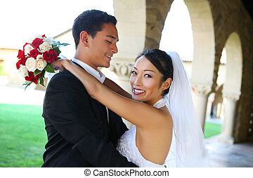 novio, y, novia, en, boda