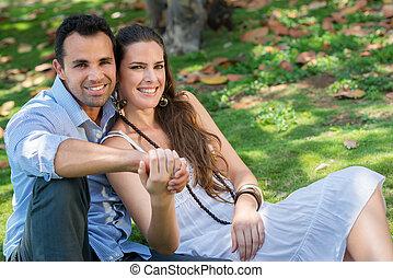 novio y novia, enamorado, abrazar, durante, fecha