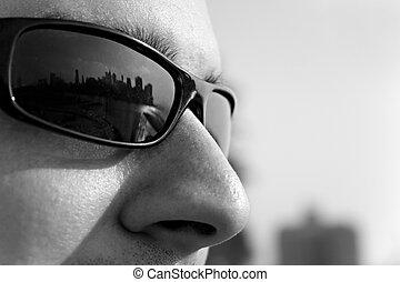 novo, óculos de sol, york, cidade