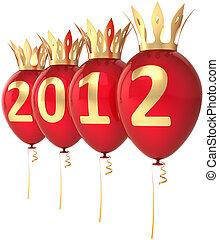 novo, 2012, ano, balões, feliz