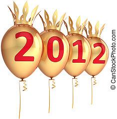 novo, 2012, balões, dourado, ano