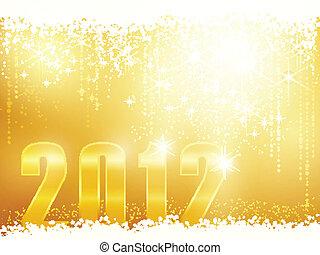 novo, 2012, feliz, cartão, ano