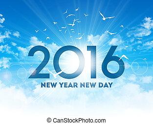 novo, 2016, dia, cartão, saudação