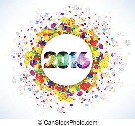 novo, 2016, feliz, celebração, ano