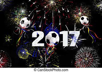 novo, 2017, bolas futebol, ano
