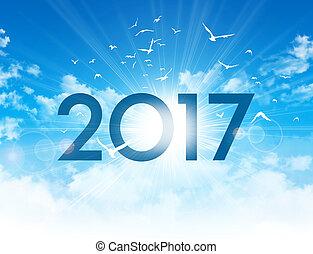 novo, 2017, dia, cartão, saudação