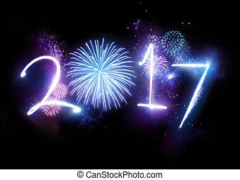 novo, 2017, fogos artifício, feliz, ano